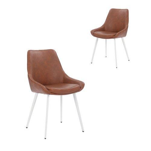 Simplife Set of 2 Daimyo Tan Faux Leather Dining Chair White Leg