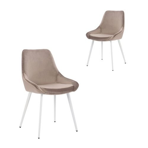 Simplife Set of 2 Daimyo Taupe Velvet Dining Chair white leg