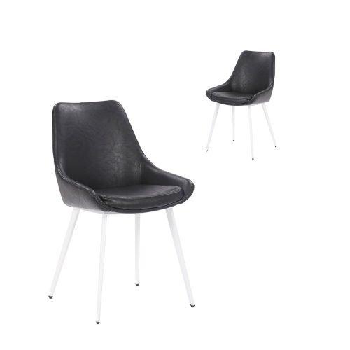 Simplife Set of 2 Daimyo Black Faux Leather Dining Chair White Leg