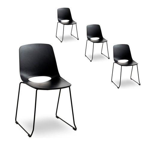 Simplife Set of 4 Olivia Black Dining Chair