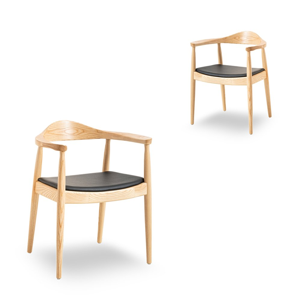 Simplife Set of 2 Replica Hans Wegner Round Natural Timber Arm Chairs
