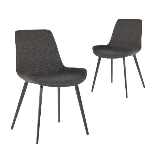 Simplife Set of 2 Cleo Charcoal colour stain resistant waterproof fabric Dining Chairs