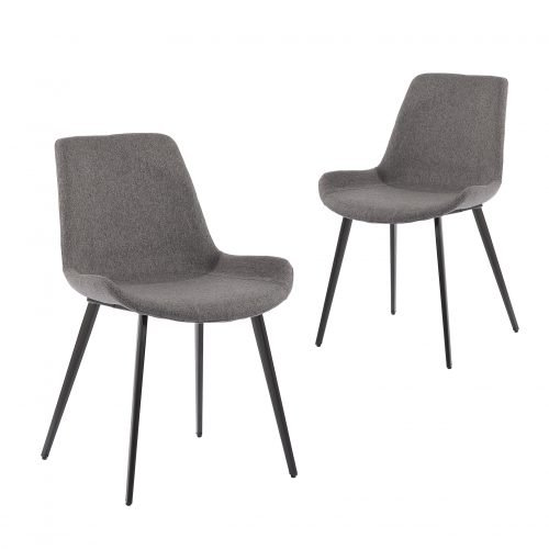 Simplife Set of 2 Cleo stain resistant waterproof Dark Grey fabric Dining Chairs