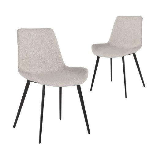 Simplife Set of 2 Cleo stain resistant waterproof Light Grey fabric Dining Chairs
