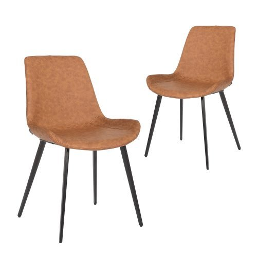 Simplife Set of 2 Cleo Tan faux leather Dining Chairs