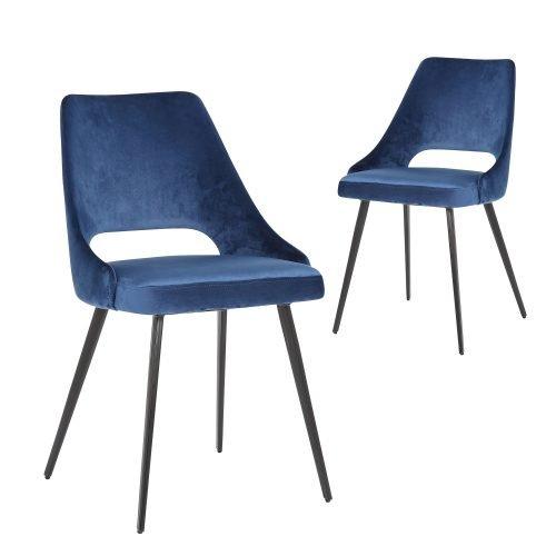 Simplife Set of 2 Eva Royal Blue Velvet Dining Chair