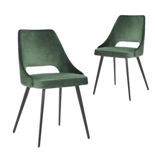 Simplife Set of 2 Eva Green Velvet Dining Chair