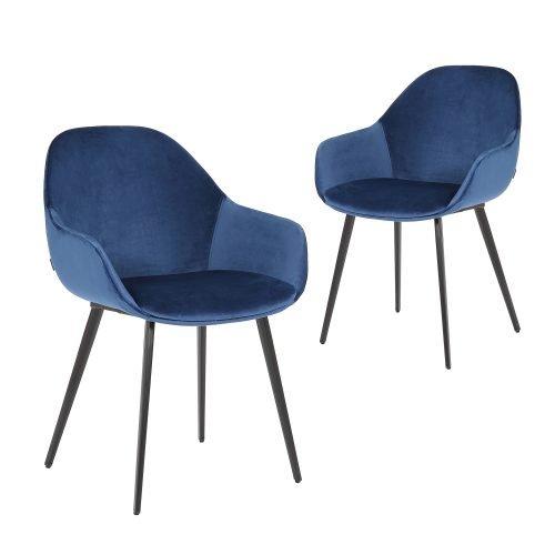 Simplife Set of 2 Fido Royal Blue Velvet Dining Chair