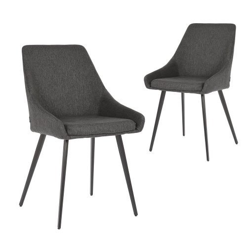 Simplife Set of 2 Shogun Charcoal colour stain resistant waterproof fabric Dining Chairs