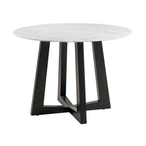 Simplife 100cm Sloan Natural Marble Dining Table Black Leg