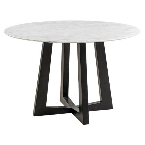 Simplife 120cm Sloan Natural Marble Dining Table with Black Leg