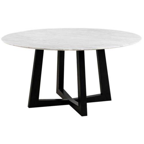 Simplife 150cm Sloan Natural Marble Dining Table Black Leg