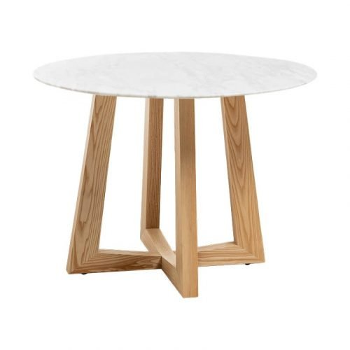 Simplife 100cm Sloan Natural Marble Dining Table Natural Leg