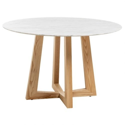 Simplife 120cm Sloan Natural Marble Dining Table with Natural Leg