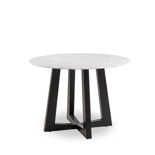 100cm Sloan Natural Marble Dining Table Black Leg