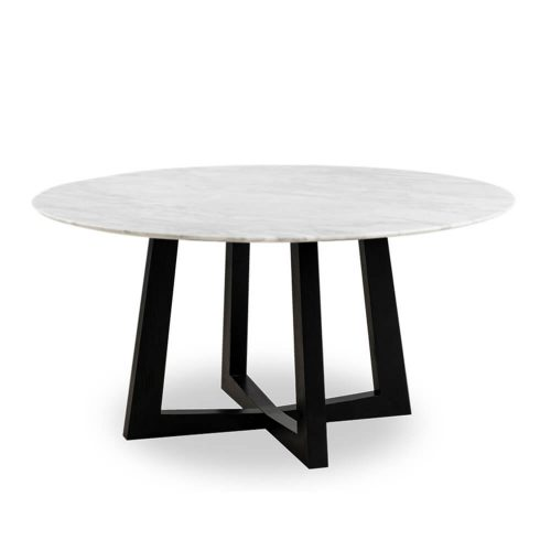 150cm Sloan Natural Marble Dining Table Black Leg