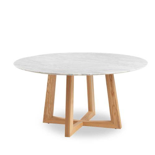 150cm Sloan Natural Marble Dining Table Natural Leg