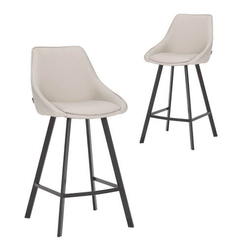 Simplife Set of 2-67cm Nemo High Back Light Grey Faux Leather Kitchen stool