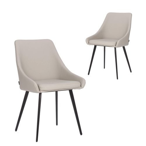 Simplife Set of 2 Shogun Light Grey Faux Leather Dining Chairs